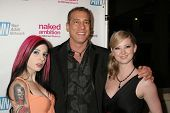 Joanna Angel with Michael Grecco and Sunny Lane at the Los Angeles Premiere of 'Naked Ambition an R-