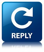 Reply Glossy Blue Reflected Square Button