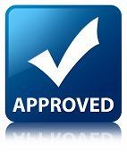 Approved (validation Icon) Glossy Blue Reflected Square Button