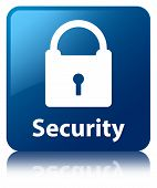 Security (padlock Icon Glossy Blue Reflected Square Button