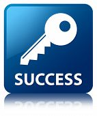 Success (key Icon) Glossy Blue Reflected Square Button
