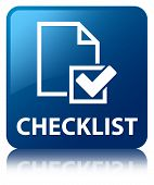 Checklist Glossy Blue Reflected Square Button