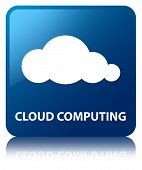 Cloud Computing Glossy Blue Reflected Square Button