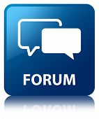 Forum Glossy Blue Reflected Square Button