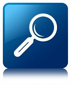 Magnifying Glass Icon Glossy Blue Reflected Square Button