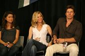 Grace Park with Kate Vernon and Michael Trucco  at 'Battlestar Galactica' Auction Preview Day and Actor Panel. Pasadena Convention Center, Pasadena, CA. 05-07-09