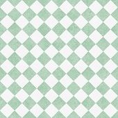 Pale Green And White Diagonal Checkers On Textured Fabric Background