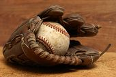Vintage Glove And Baseball