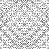 stock photo of fish skin  - Seamless black and white background imitating fish skin with inscribed hearts - JPG