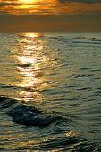Sea Wave At A Solar Decline