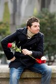 Man With Chocolates And A Rose Being Stood Up
