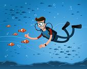 stock photo of clown fish  - a young man getting a pose with clown fish while diving in the deep sea - JPG