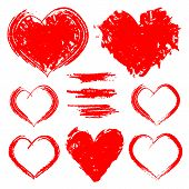 Vector Set Of Hand Drawn Hearts Isolated On White Background