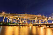 Night Light Bridge With River At Bangkok Thailand