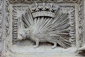 Porcupine emblemof the House of Orleans. Castle of Blois Loire valley France