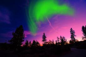 picture of light-pole  - Amazing Northern Lights aurora borealis at night - JPG