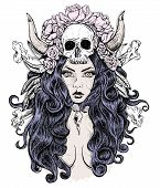 stock photo of voodoo  - Beautiful woman with long hair and horns rose skull - JPG