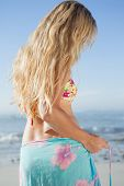 Pretty blonde in bikini and sarong on the beach on a sunny day