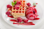 Belgian Waffles With Raspberries Sorbet