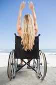 Wheelchair bound blonde sitting on the beach with arms up on a sunny day