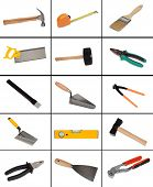 Collage of many different tools isolated on white background