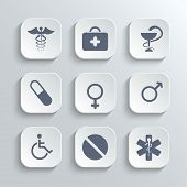 Medical icons set - vector white app buttons