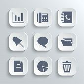 Office icons set - vector white app buttons