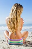 Gorgeous blonde in bikini sitting on the beach on a sunny day