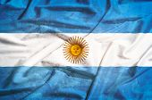 Grunge Argentina Flag On A Silk Drape Waving