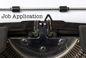 Words Job Application written with vintage typewriter