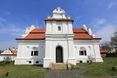 White Church with red roof. Take it  in National Historic and Architectural Complex