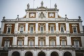 Main facade.Palace of Aranjuez, Madrid, Spain.World Heritage Site by UNESCO in 2001
