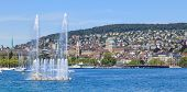 Lake Zurich And Zurich Cityscape