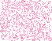 pic of cute kids  - Cute doodle with hearts and floral elements - JPG