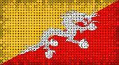 Flag Of Bhutan Lighting On Led Display