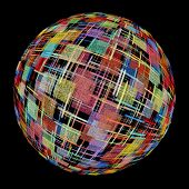 Multicolored Abstract Globe Silhouette On Black Background.