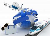 3d suitcase, airplane, train and globe. Travel and vacation concept. Trendy signs - summer and journ