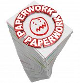 Paperwork word in 3d red letters on a stack of papers you must fill out in busy work