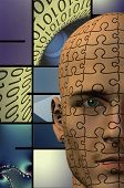 Puzzle Man Binary Abstract Background