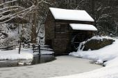 Historic Mill in Winter poster