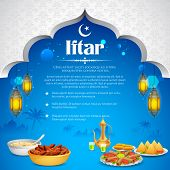 illustration of delicious dishes for Iftar party