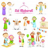 illustration of muslim people celebrating Eid