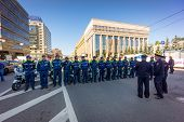 MOSCOW - JUNE 29: Police meeting before Bike Parade on June 29, 2014 in Moscow. Thousands of cyclist