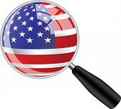 Magnifying glass with usa flag