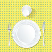 vector paper plate on yellow and green tablecloth