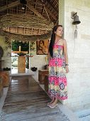 stock photo of filipina  - Filipina at a native catholic chapel in Sibulan Negros Oriental - JPG