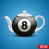 Ceramic Teapot In Billiard Pool Ball Style. Vector Illustration.