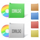 Download. Box with compact disc. Raster illustration.
