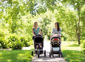 Happy mothers with their baby carriages walking together in park