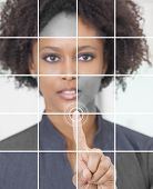 Photo grid montage of a successful african american businesswoman pressing a graphic symbol on a tou